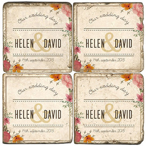 Floral Wedding Namedrop Coaster Set. Handmade Marble Giftware by Studio Vertu.