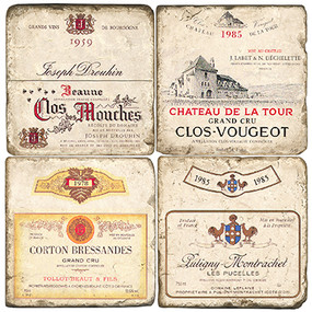 Vintage French Wine Label Coaster Set