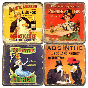 Vintage Absinthe Illustrations Coaster Set. Handmade Marble Giftware by Studio Vertu.