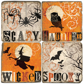 Wicked Halloween Themed Coaster Set. Handmade Marble Giftware by Studio Vertu.