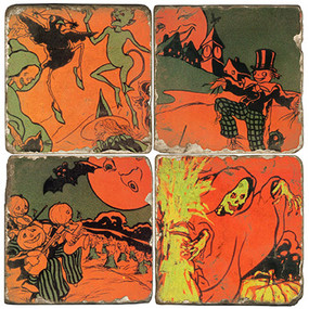 Halloween Ghoul Coaster Set. Handmade Marble Giftware by Studio Vertu.