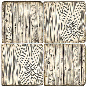 Faux Bois Pattern Coaster Set