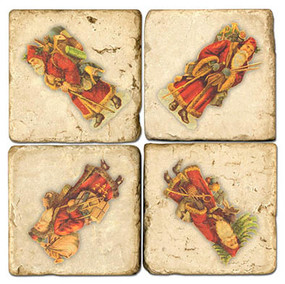 Vintage Santa Coaster Set. Handmade Mable Giftware by Studio Vertu.