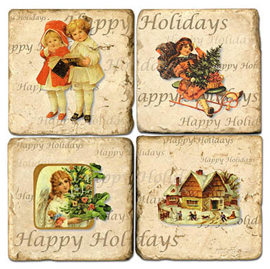 Vintage Christmas Illustrations Coaster Set