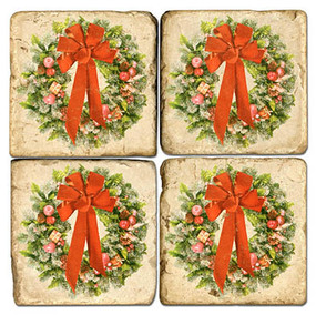 Christmas Wreath Coaster Set. Handmade Marble Giftware by Studio Vertu.