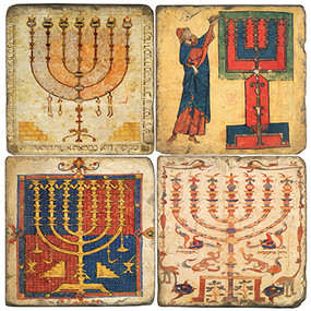 Vintage Menorah Illustrations Coaster Set