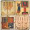 Vintage Menorah Illustrations Coaster Set