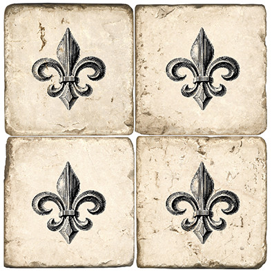 Black and White Fleur De Lis