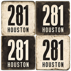 Black and White Texas Area Code 281 Coaster Set.