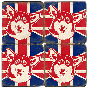 British Corgi Coaster Set.  Handmade Marble Giftware by Studio Vertu.