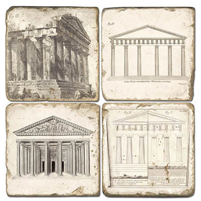 Black and White Roman Architecture Buildings