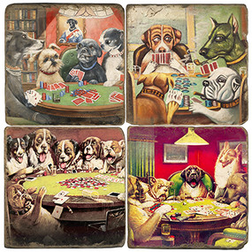 Poker Dogs Coaster Set. Handcrafted Marble Giftware by Studio Vertu.