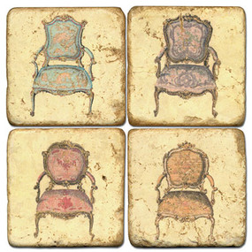 Vintage French Chair Coaster Set. Handcrafted Marble Giftware by Studio Vertu.