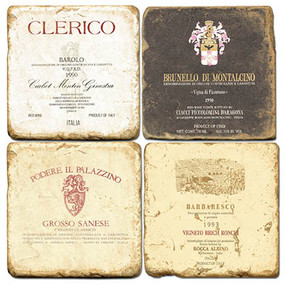 Italian Wine Label Coaster Set