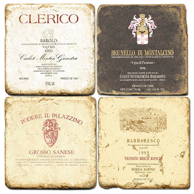 Italian Wine Label Coaster Set