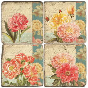 Floral Collage Coaster Set