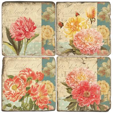 Floral Collage Coaster Set
