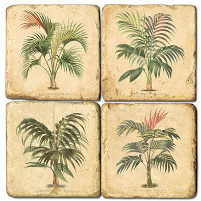 Small Palms Coaster Set. Handmade Marble Giftware by Studio Vertu.