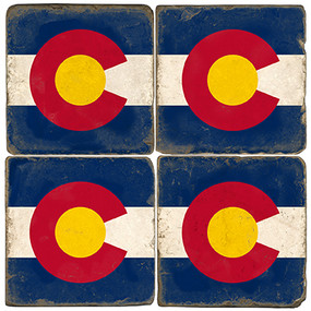 Colorado Flag Coaster Set. Handmande Marble Giftware by Studio Vertu.