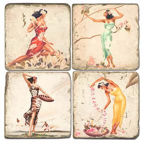 Hula Girls Coaster Set