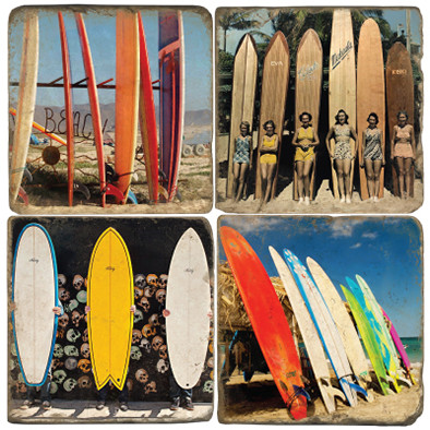 Vintage Surfboard Coaster Set