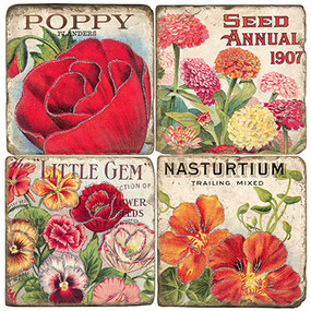 Colorful Flower Seed Packet Coaster Set
