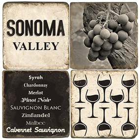 Black & White Sonoma Valley Coaster Set