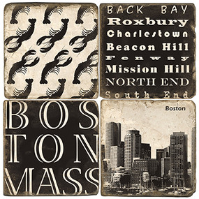 Black and White Boston Coaster Set