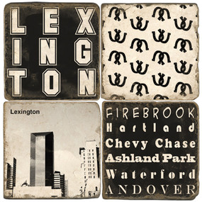 Lexington Kentucky Black and White Coaster Set