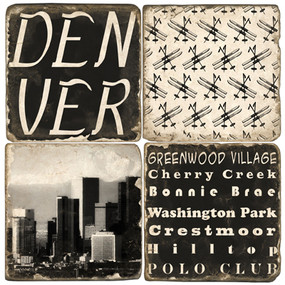 Black and White Denver, Colorado Coaster Set