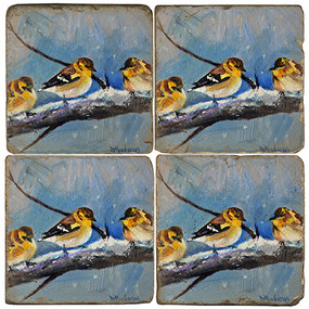 Sparrows in snow coaster set. Painted by Madaras Gallery