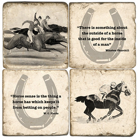 Black & White Horse Racing Coaster Set