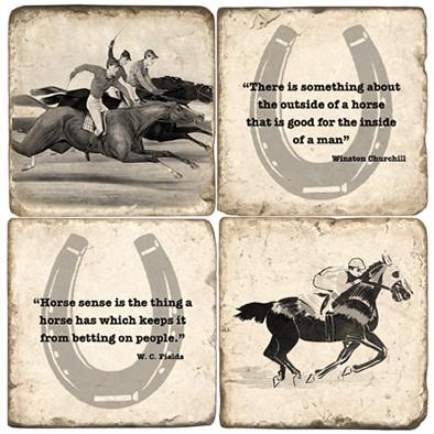Black & White Horse Racing Coaster Set
