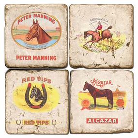 Horse Themed Cigar Labels Coaster Set. Handcrafted Marble Giftware by Studio Vertu.