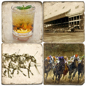 Kentucky Derby Themed Coaster Set. Handmade Marble Giftware by Studio Vertu.