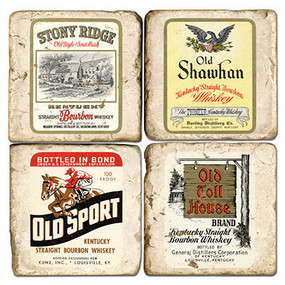 Vintage Bourbon Label Coaster Set