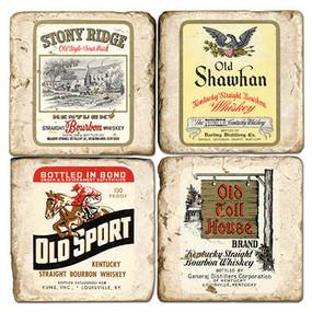 Vintage Bourbon Label Coaster Set