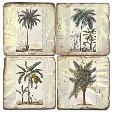 Tropical Palms Coaster Set. Handmade Marble Giftware by Studio Vertu.