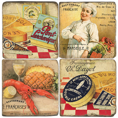 Classic French Food Coaster Set
