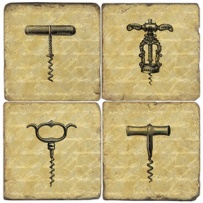 Vintage Corkscrew Coaster Set