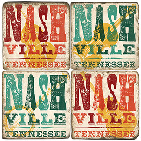 Nashville, TN Coaster Set. Handmade Marble Giftware by Studio Vertu.