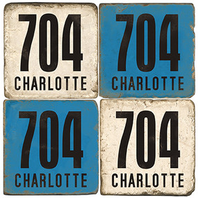 Charlotte, North Carolina Area Code Coaster Set
