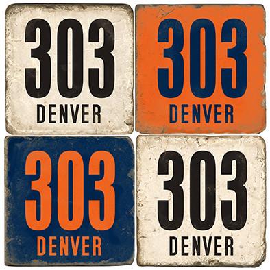 Denver, Colorado Area Code Coaster Set