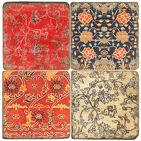 Colorful Metok Tibetan Textile Coaster Set