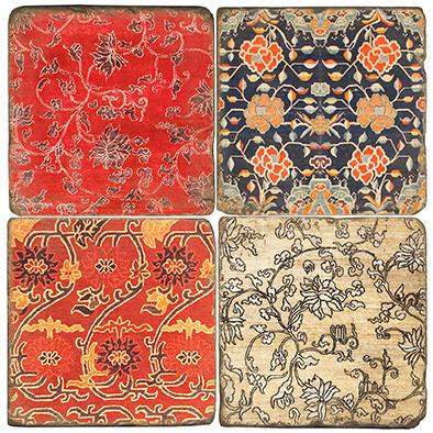 Colorful Metok Tibetan Textile Coaster Set