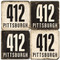 Pittsburgh Area Code 412 Coaster Set. Handmade Marble Giftware by Studio Vertu.