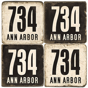 Ann Arbor Michigan Area Code 734 Coaster Set.