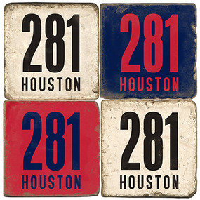 Houston Area Code 281 Coaster Set