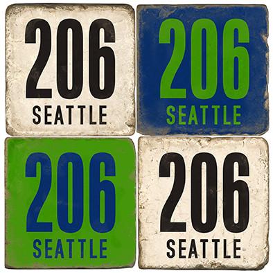 Seattle Washington Area Code 206 Coaster Set