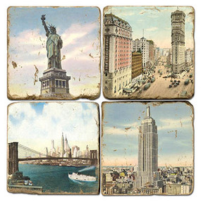 Vintage illustrations of New York City Coaster Set